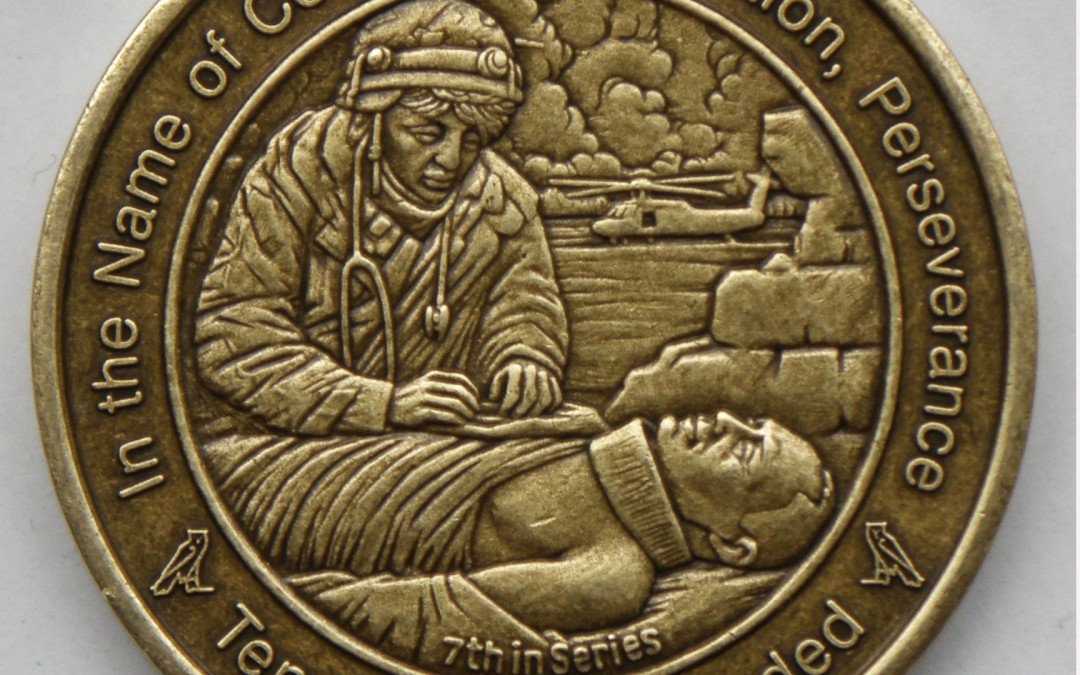 Coin 7: Tending the Wounded Antique Bronze Pocket Piece