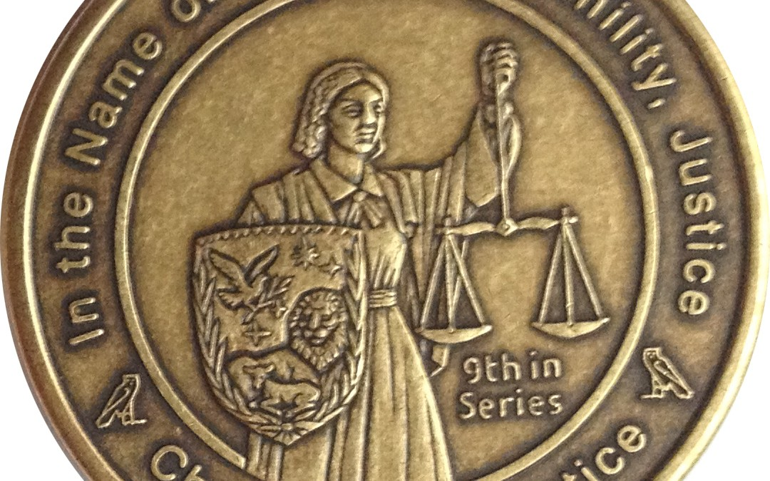 Coin 9: Champion of Justice Antique Bronze Pocket Piece