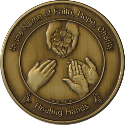 Coin four Healing Hands in Antique Bronze