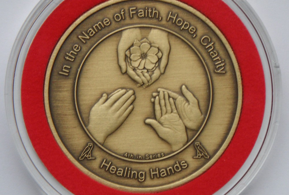 Coin 4: Healing Hands Antique Bronze in Bezel