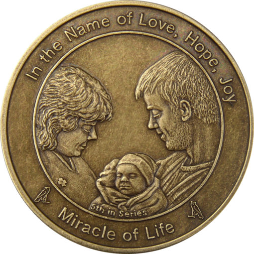 Coin five Miracle of Life in Antique Bronze