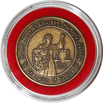 Champion of Justice coin in bezel