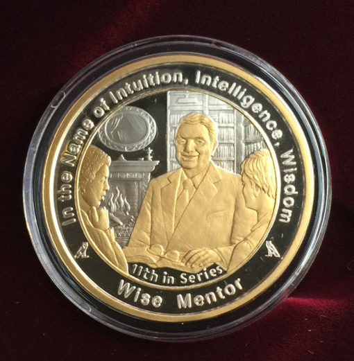 Wise Mentor coin in Fine Silver with Gold Overlay